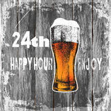 Glass of beer with foam. wood background beer happy hour-enjoy.vector illustration Royalty Free Stock Photo