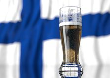 a glass of beer in front a Finland  flag. 3D illustration rendering. Royalty Free Stock Photo