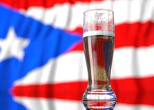 A glass of beer in front a Puerto rican flag. 3D illustration rendering. Stock Photo