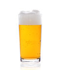 Glass of beer with froth isolated on white Stock Image