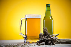 Glass of beer with grain Royalty Free Stock Image