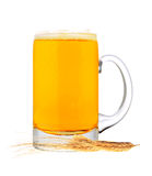 Glass of beer with grain isolated on white Royalty Free Stock Photos