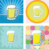 Glass of beer graphic into many retro styles background Royalty Free Stock Image