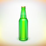 Glass beer green bottle. Product packing. Ready for your design stock illustration