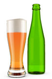 Glass of Beer and Green Bottle Royalty Free Stock Photos