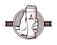 A glass of beer with a hand. Illustration. label vector illustration