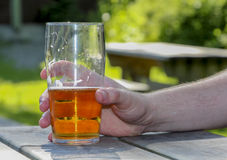 Glass beer hand. Glass of beer held by hand Stock Images