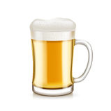 Glass of beer with handle isolated on white Royalty Free Stock Photos
