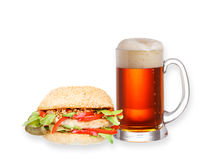 Glass of beer and homemade burger, isolated on white background Royalty Free Stock Photos