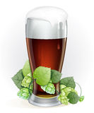 Glass of beer with hop branch Royalty Free Stock Photos