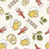 Glass of beer, hop, pretzel and crayfish seamless Royalty Free Stock Photos