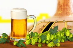 Glass of beer with hops Stock Photo