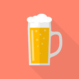 Glass of beer icon. Isolated in flat style design with long shadow. Light beer with foam. Vector illustration Royalty Free Stock Image
