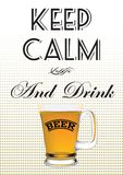 Glass of beer. With the inscription keep calm and drink beer Stock Photos