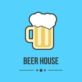 Glass of beer isolated on blue background. Concept of brasserie, restaurant business, cheerful company, beer house or label. flat style logo design trendy Royalty Free Stock Photo