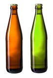Brown and green bottles of beer isolated with clipping path Royalty Free Stock Photography