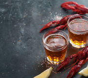 Glass of beer and lobster Royalty Free Stock Photo