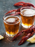 Glass of beer and lobster Royalty Free Stock Photography