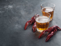Glass of beer and lobster Royalty Free Stock Images