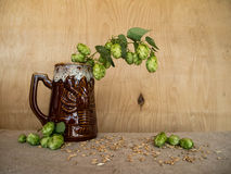 Glass of beer with malt and hops. On wooden background Royalty Free Stock Photos