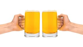 Glass of beer in men hands isolated on white Royalty Free Stock Image
