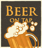 Glass of beer menu words with foam on yellow background vector illustration