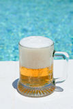Glass of beer outdoor Royalty Free Stock Photos