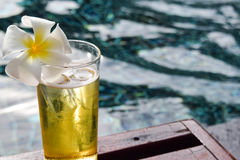 A glass of beer with plumeria flower on wooden chair in swiming pool. Closeup glass of beer with plumeria flower on wooden chair in swiming pool Royalty Free Stock Image