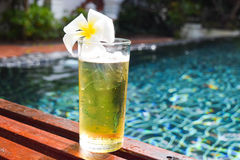 A glass of beer with plumeria flower on wooden chair in swiming pool. Closeup glass of beer with plumeria flower on wooden chair in swiming pool Royalty Free Stock Photos