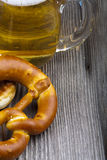 Glass of beer and pretzel Royalty Free Stock Photo