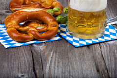 Glass of beer and pretzels Stock Photo