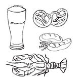 Glass of beer, pretzels, sausages, lobster Stock Image