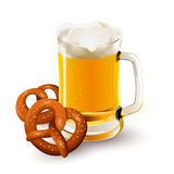 Glass of beer with pretzels Stock Image