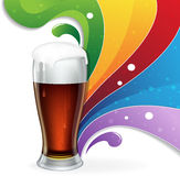Glass of  beer and rainbow Stock Photo