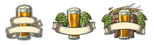 Glass beer with ribbon, barrel, and hop branch. Stock Image