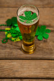 Glass of beer and shamrock for St Patricks Day. On wooden table Stock Photography