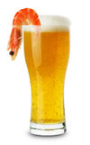 Glass of beer with shrimp isolated on the white background Stock Photo
