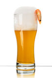 Glass of beer with shrimp Royalty Free Stock Image