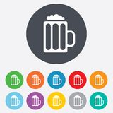 Glass of beer sign icon. Alcohol drink symbol. Stock Photography