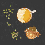 Glass of beer and snack stock illustration