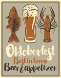 Glass of beer and snack seafood. Vector banner with a glass of beer and snack seafood Royalty Free Stock Image