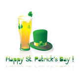Glass of beer and St. Patrick's Day hat Royalty Free Stock Images