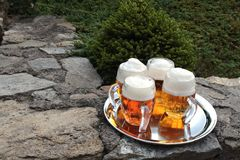 Glass of beer on a stone wall Royalty Free Stock Photos
