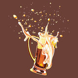 Glass of beer. Vector glass of beer, painted in four colors Stock Illustration