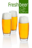 Glass with beer on white background Stock Photo