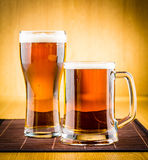 Glass beer. On wood background Stock Photo
