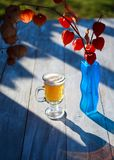 Glass beer on wood background. physalis Stock Photography