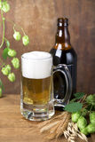 Glass beer on wood background Royalty Free Stock Photos
