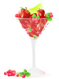 Glass of berries and fruits Stock Photo