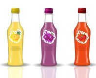 Glass beverage bottle set. Fresh juices, lemonade, drinks in a realistic, 3d style. Mock-up for your product design. Isolated on white background with vector illustration